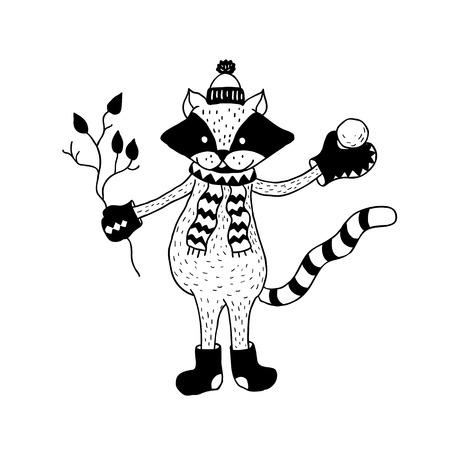 Icône drôle de raton laveur. Illustration