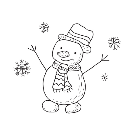 Funny snowman. Nursery art. Minimalist scandinavian style. Character for kids card, print for t-shirt and more. Winter season.