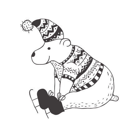 Funny polar bear illustration.
