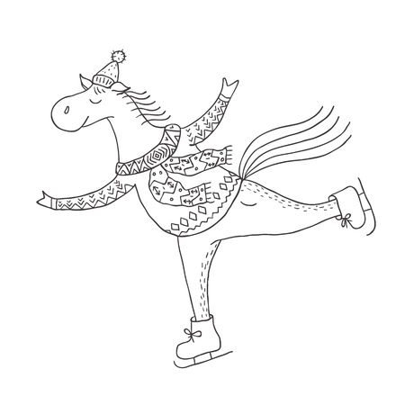 Funny horse on the skates. Nursery art. Minimalist scandinavian style. Character for kids card, print for t-shirt and more. Winter season. Illustration