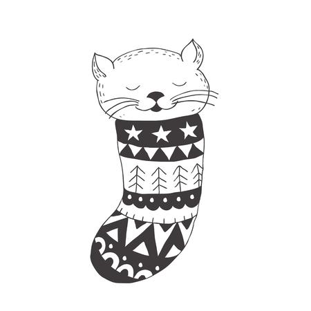 Gracioso gatito en el calcetín. Arte del cuarto de niños Estilo escandinavo minimalista. Carácter para la tarjeta de los niños, impresión para la camiseta y más. Temporada de invierno.