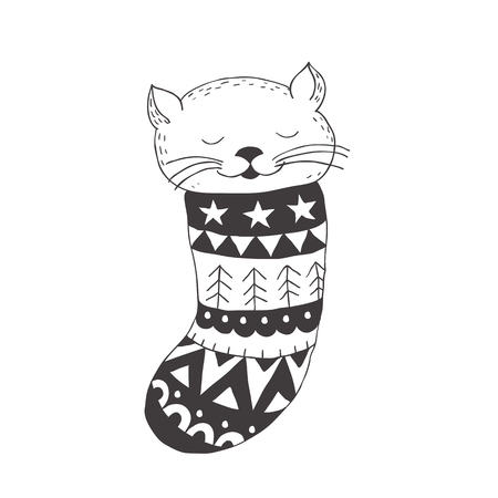 Funny little cat in the sock. Nursery art. Minimalist scandinavian style. Character for kids card, print for t-shirt and more. Winter season.