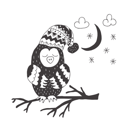Funny owl . Nursery art. Minimalist scandinavian style. Character for kids card, print for t-shirt and more. Winter season.