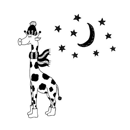 Funny giraffe. Nursery art. Minimalist scandinavian style. Character for kids card, print for t-shirt and more. Winter season.