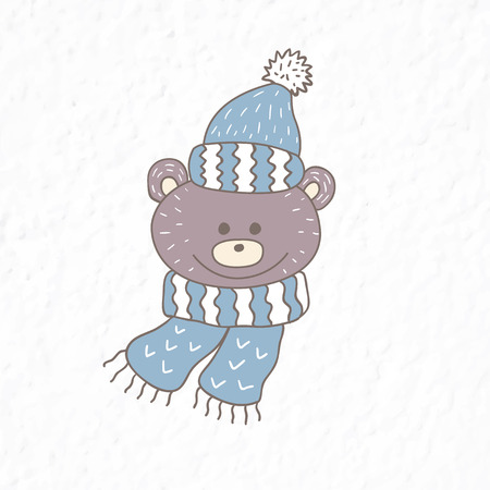 Funny teddy bear. Nursery art. Minimalist scandinavian style. Character for kids card, print for t-shirt and more. Winter season.
