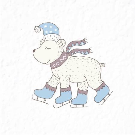 Funny polar bear. Nursery art. Minimalist scandinavian style. Character for kids card, print for t-shirt and more. Winter season.