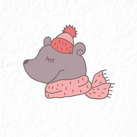 Funny teddy bear. Nursery art. Minimalist scandinavian style. Character for kids card, print for t-shirt and more. Winter season.