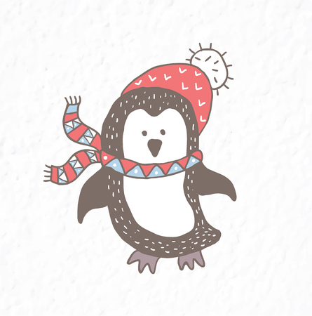 Funny penguin. Nursery art. Minimalist scandinavian style. Character for kids card, print for t-shirt and more. Winter season.