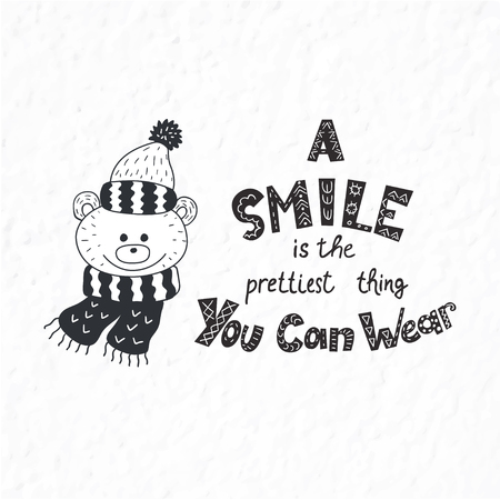 Funny bear. Winter postcard with quotes and phrases. Hand drawn lettering with decorative elements. Scandinavian style. Nursery art.