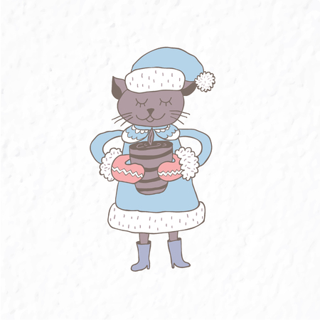 Funny cat. Nursery art. Minimalist scandinavian style. Character for kids card, print for t-shirt and more. Winter season. Illustration