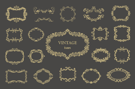 Set of gold vintage floral frames and monograms.