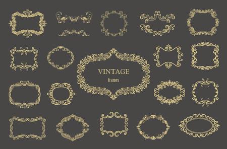 Conjunto de marcos florales vintage de oro y monogramas.