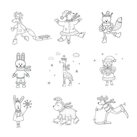 Ensemble d'animaux mignons en hiver. Art de la pépinière. Style scandinave minimaliste. Carte de personnages pour enfants, impression de t-shirts et plus.