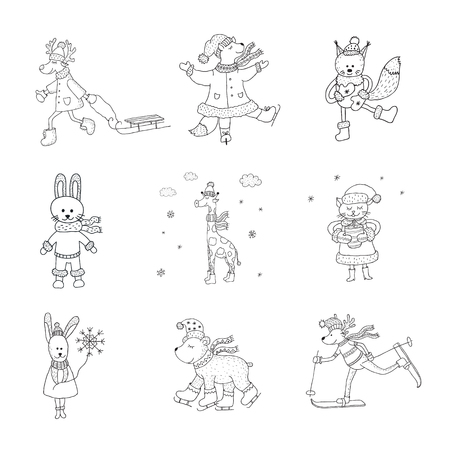 Set of cute animals in the winter . Nursery art. Minimalist scandinavian style. Characters for kids card, print for t-shirt and more. Illustration