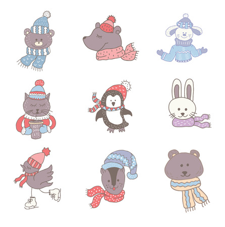 Set of cute animals in the winter . Nursery art. Minimalist scandinavian style. Characters for kids card, print for t-shirt and more. Stock Photo