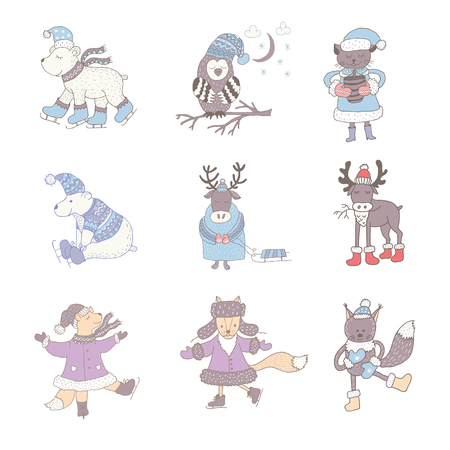 Set of cute animals in the winter . Nursery art. Minimalist scandinavian style. Characters for kids card, print for t-shirt and more. Stock Vector - 92090092
