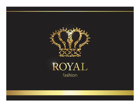 Gold crown luxury label, emblem or packing logo design. Fashion banner with glitter and shine.
