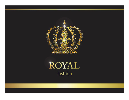 Gold crown luxury label emblem or packing logo design. Fashion banner with glitter and shine.