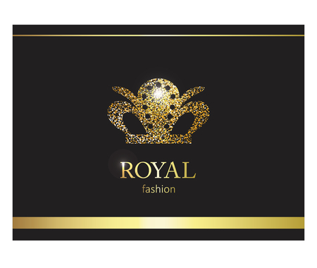 Gold crown. Luxury label, emblem or packing. Logo design. Fashion banner with glitter and shine.