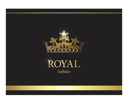 Gold crown. Luxury label, emblem or packing.  design. Fashion banner with glitter and shine.
