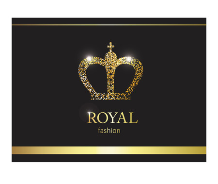 Gold crown. Luxury label, emblem or packing. Stock Photo