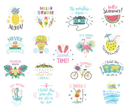 Set of Summer color hand-lettering labels and stickers. Tropical emblems with fruits. Travel postcards with quotes. Designs for t-shirt and poster.