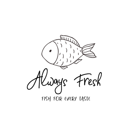 Label of fish. Line logo on the white background