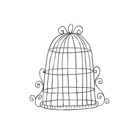 Vintage decorative birdcage. Illustration