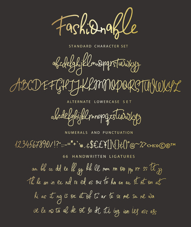 Handrawn vector alphabet. Letter for script font. Modern gold calligraphy. Marker painted abc with ligatures.