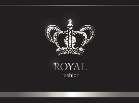 Silver crown. Luxury label, emblem or packing. Logo design. Fashion banner with glitter and shine.
