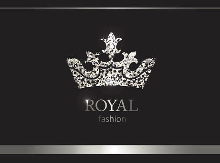 Silver crown. Luxury label, emblem or packing. Logo design. Fashion banner with glitter and shine. Stock fotó - 101620292