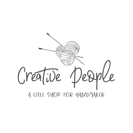 Logo of Knitting needles and threads. Line style design elements for branding.