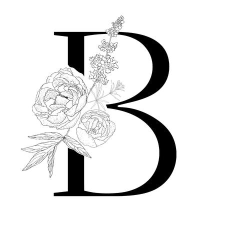 Floral alphabet. Decorative serif letter. Uppercase font.