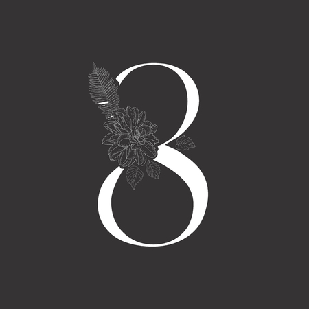 Floral figure. Vintage decorative white numeral on the black background.