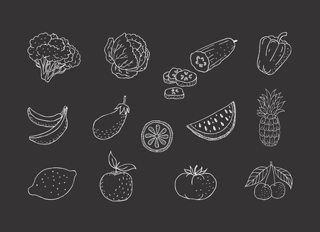 Set of fruits and vegetables. Line icons.