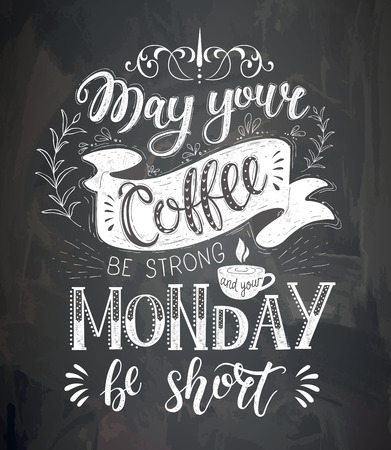 Coffee quotes on the chalk board. Vector hand-drawn lettering . Decoration for restaurant and bar.