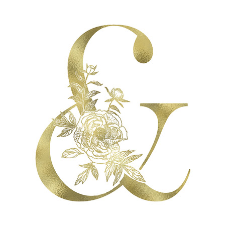 Decorative floral gold ampersand on the white background.