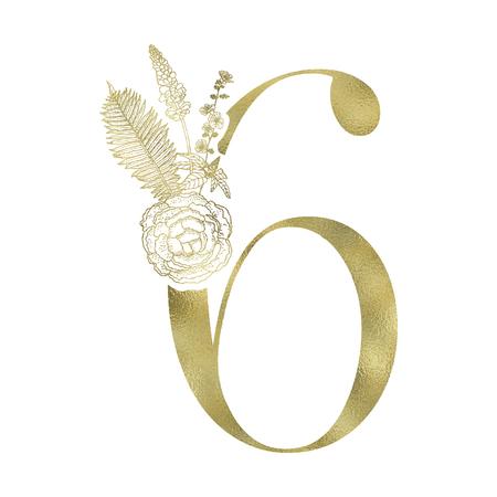 Floral figure. Vintage decorative gold numeral on the white background. Vektorové ilustrace