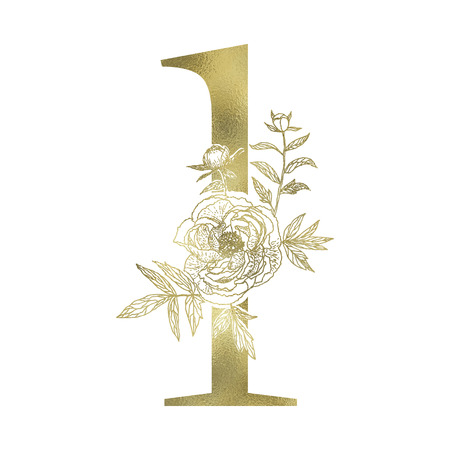 Floral figure. Vintage decorative gold numeral on the white background. Illustration