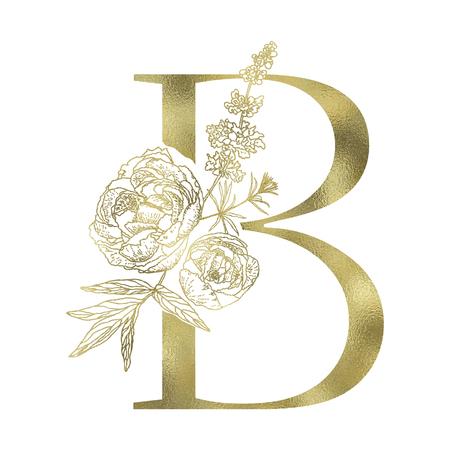 Floral alphabet and gold serif letter. Decorative ABC. Vettoriali
