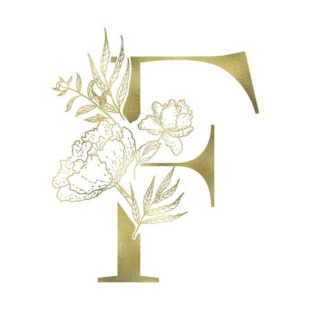 Floral alphabet and gold serif letter. Decorative ABC. Иллюстрация