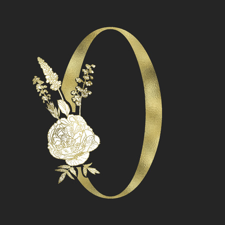 Floral figure. Vintage decorative gold numeral on the black background. Illusztráció