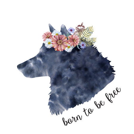 Watercolor head of a wolf with a wreath of flowers. Art with animal head, lettering for print. Wash drawing illustration.