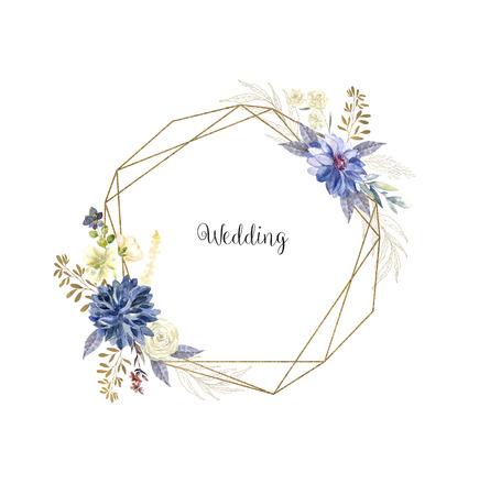 Watercolor floral geometric framework on white background. Aquarelle botanical border for wedding card cover Banque d'images