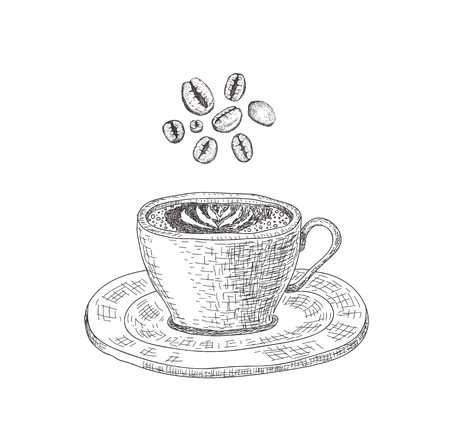 Cup with a coffee drink on the white background and ribbon. Sketching style. Illustration