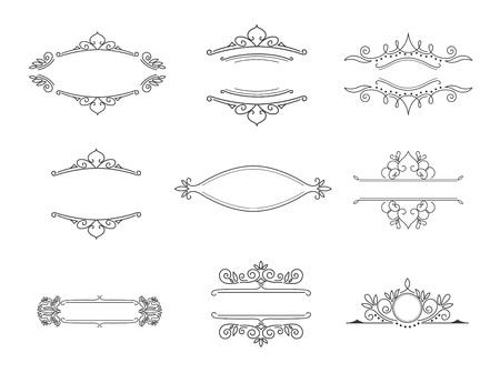 Conjunto de monogramas de línea. Marcos florales vintage para su logotipo, invitación, fondo de boda. Logos
