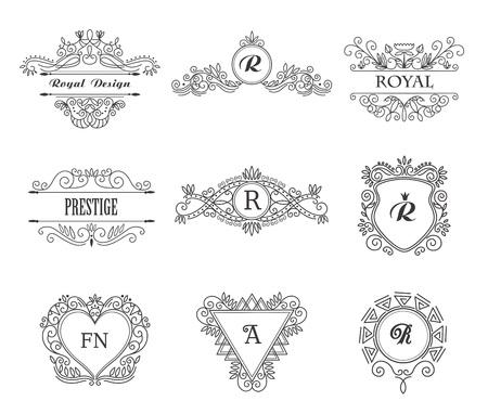 Set of Line Monograms. Vintage Floral Frames for your Logo, Invitation, Wedding Background. Logo