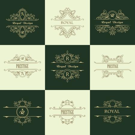 Set of Line Gold Monograms. Vintage Floral Frames for your Logo, Invitation, Wedding Background.