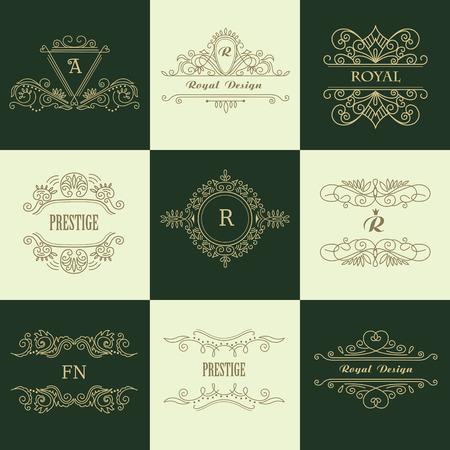 Set of Line Gold Monograms. Vintage Floral Frames for your Logo, Invitation, Wedding Background. Stok Fotoğraf - 117799688