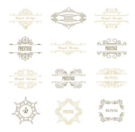 Set of Line Gold Monograms. Vintage Floral Frames for your Logo, Invitation, Wedding Background. Stok Fotoğraf - 117799695
